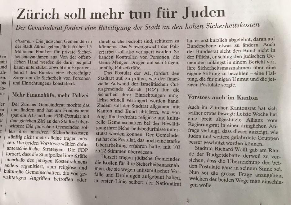 Artikel: Zürich soll mehr tun für Juden